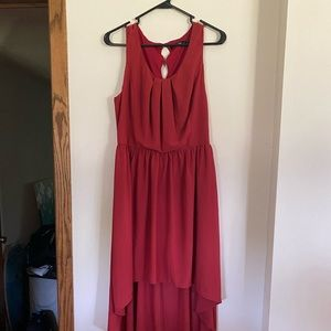 High/low Dark Red Dress